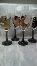 Hand Painted Bambi Set Of Four Thumper Flower Owl Large Washable Wine Glasses Uk
