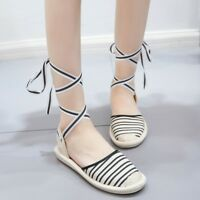 Women's Canvas Loafer Flat Lace Up Sandals Ankle Strappy Summer Shoes Size