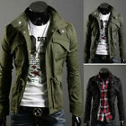 Men's Slim Fit Military Style Jacket Stand Collar Coat Zip Button Hoody Overcoat