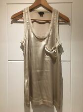 Theory Stretch Silk Tank Top Sleeveless Vest Blouse Light Grey S Small