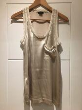 Theory Stretch Silk Tank Top Sleeveless Vest Blouse Light Grey S Small