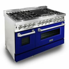 "Zline 48"" Dual Fuel Range Oven Gas Electric Gloss Blue Door Ra-Bg-48"