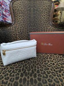 Loro Piana white clutch purse NWB ostrich cosmetic case New