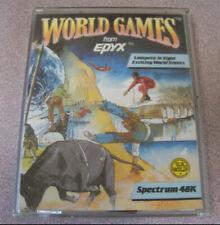 "Vintage Spectrum 48k 1980s Cassette Video Game 4"" X 5.5"" World Games Epyx Sumo"