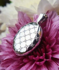 Solid 9ct White Gold Oval Locket Necklace with 0.23cts Diamonds MADE IN BRITAIN