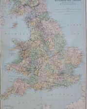 1889 MAP ENGLAND & WALES YORK CHESHIRE LEICESTER DORSET DEVON KENT SUSSE NORFOLK
