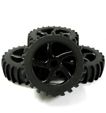 HS281063B 1/8 Scale Sand Snow Buggy RC 7 Spoke Swirl Wheels and Tyres Black x 4