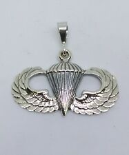 Sterling Silver U.S. Army Airborne Basic Jump Wing pendant