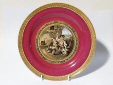 19thC The Queen God Bless Her (269) Burgundy Prattware Dinner Plate