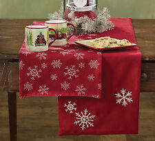 "Table Runner 36"" L - Snowfall by Park Designs - Christmas - Red White Reversible"