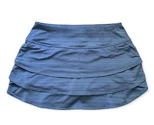 Athleta Swagger Tiered Skort Iron Blue Stripes size Small Built In Shorts Tennis