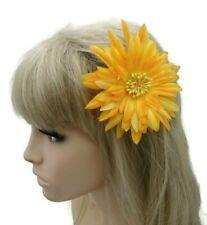 Yellow Glittery Fascinator Hair Grip Clip Flower 11 cms