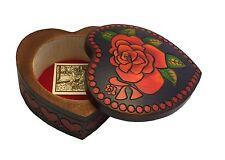 Large Rose Heart Box Polish Handmade Jewelry Box Linden Wood Heart Keepsake