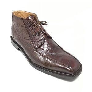 Men's Mauri Ankle Boots Shoes Size 9.5 M Brown Genuine Sharkskin Alligator AJ1