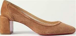 Christian Louboutin INCASTRANA 55 Perforated Suede Heels Pumps Shoes Brown $795