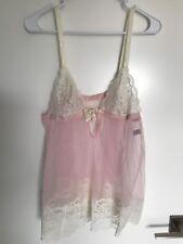 Vintage Babydoll Lingerie Glydons Pink Sheer Silky Nylon Lace Size S Usa
