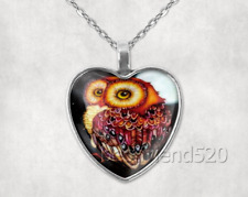 Owl Photo Tibet Silver Cabochon Glass Heart Pendant Heart Necklace