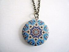 """Round Enamel Painted Locket Pendant Necklace On 30"""" Chain New"""