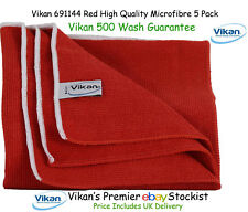Vikan Microfibre Cloths High Quality Red Microfiber Towels Cleaning Cloth x 5