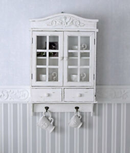 Wall cabinet towel holder wall shelf kitchen closet white wood country style new