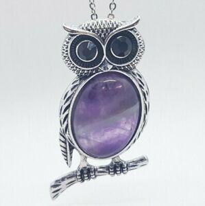 Amethyst Cute Owl Necklace Pendant Quartz Healing Stone Chakra Reiki Yoga Chain