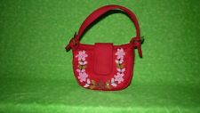 Lord and Taylor Child Size Red Cloth Beaded and Embroidered Purse Handbag
