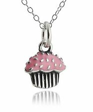 Cupcake Necklace - 925 Sterling Silver - Charm Sweet Candy Jewelry Pendant NEW
