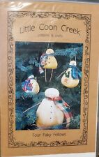 """Little Coon Creek pattern #216 Four Flaky Fellows 6"""" to 7"""" long Ornaments  new"""