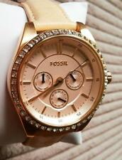 BRAND NEW FOSSIL BQ3014 ROSE GOLD GLITZ BEIGE LEATHER STRAP WOMEN'S WATCH