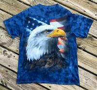 Bald Eagle T-shirt American Flag Liquid Blue Tie Dye Bold Print USA Large Cool
