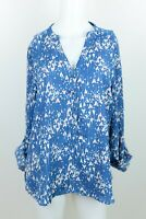 LC Lauren Conrad Size L Blue Pink White Long Roll Sleeve Button Up Tunic Top