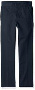 Nautica Husky Boys' Uniform Flat Front Pant, Black, Large/14 - Husky