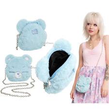 Loungefly Care Bears Purse Grumpy Bear Face Plush Crossbody Bag Tote Handbag NEW