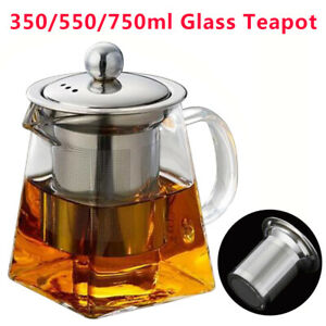 Stainless Steel Heat Resistant Glass Teapot with Strainer Filter Infuser Tea Pot