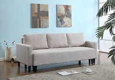 FUTON SOFA COUCH Bed Sleeper Convertible Modern Living Room Furniture Beige Wood