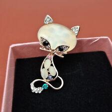 Pin Brooch Chest Accessory Jian Fashion Crystal Rhinestone Cat Shape Opal