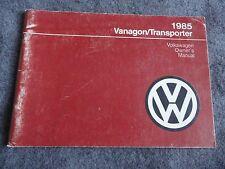 1985 VW Volkswagen Vanagon / Transporter  Owners Manual