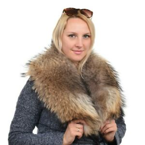 Eleganter Fellkragen aus echtem Finn Raccoon Pelz Kragen Waschbär Fell Stola FOX