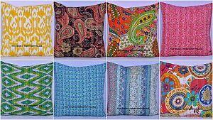 Ethnique Indien Vintage Coussin Housse Broderie Kantha Taie Oreiller 40.6x40.6cm