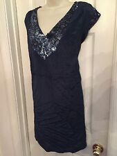 NEW $188 French Connection Blue Silk Dress silky Sequined design Size 8