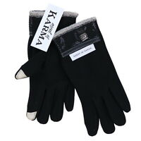 Agent Of Karma Mens Gloves Black Touch Compatible Fingertips Fleece Lined New