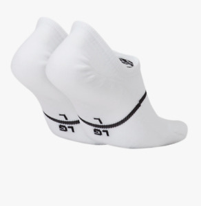 Nike Socks Mens XL Authenic New SNKR Sox Essential No Show Footies 2 Pairs White