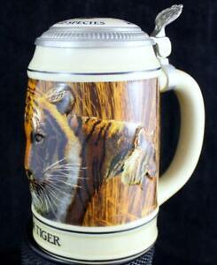 Budweiser ENDANGERED SPECIES Stein Asian Tiger 1990 GREAT CONDITION no box