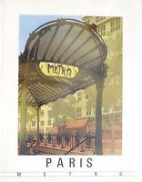 (PRL) METRO' POSTER EPOCA VINTAGE AFFICHE ORIGINAL ART PRINT RETRO PARIS PARIGI