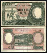 INDONESIA 10000 RUPIAH P100 1964 WATER BUFFALO AUNC RARE CURRENCY MONEY BIL NOTE