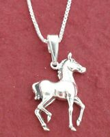 Sterling Silver Horse Necklace Solid 925 Pony Colt Charm Pendant and Chain