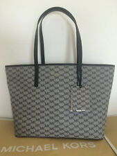 NWT AUTH MICHAEL KORS EMRY LARGE TZ TOP ZIP TOTE NATURAL BLACK 30F6AE4T7V