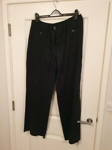 Marks And Spencer - Black Linen Trousers - Size 16