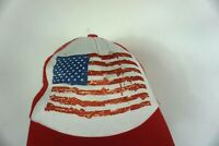 USA flag trucker hat adj size red white snap back mesh does have stain