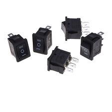 5x Spdt Onoffon Mini Black 3 Pin Rocker Switch Ac 6a250v 10a125vsg L Sm